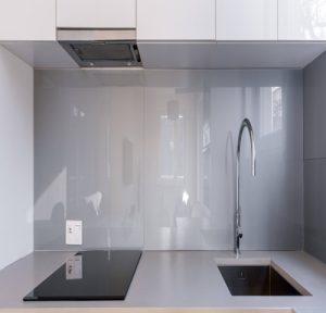 modern kitchen with large tiles for backsplash in Winchburgh